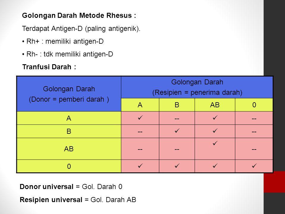 Golongan Darah Metode Rhesus : Terdapat Antigen-D (paling antigenik).