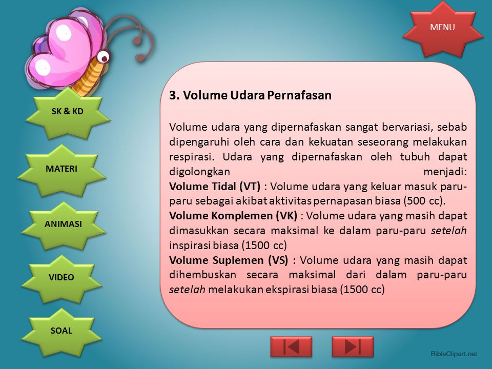 3. Volume Udara Pernafasan