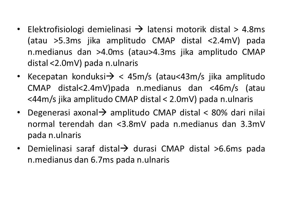 Elektrofisiologi demielinasi  latensi motorik distal > 4