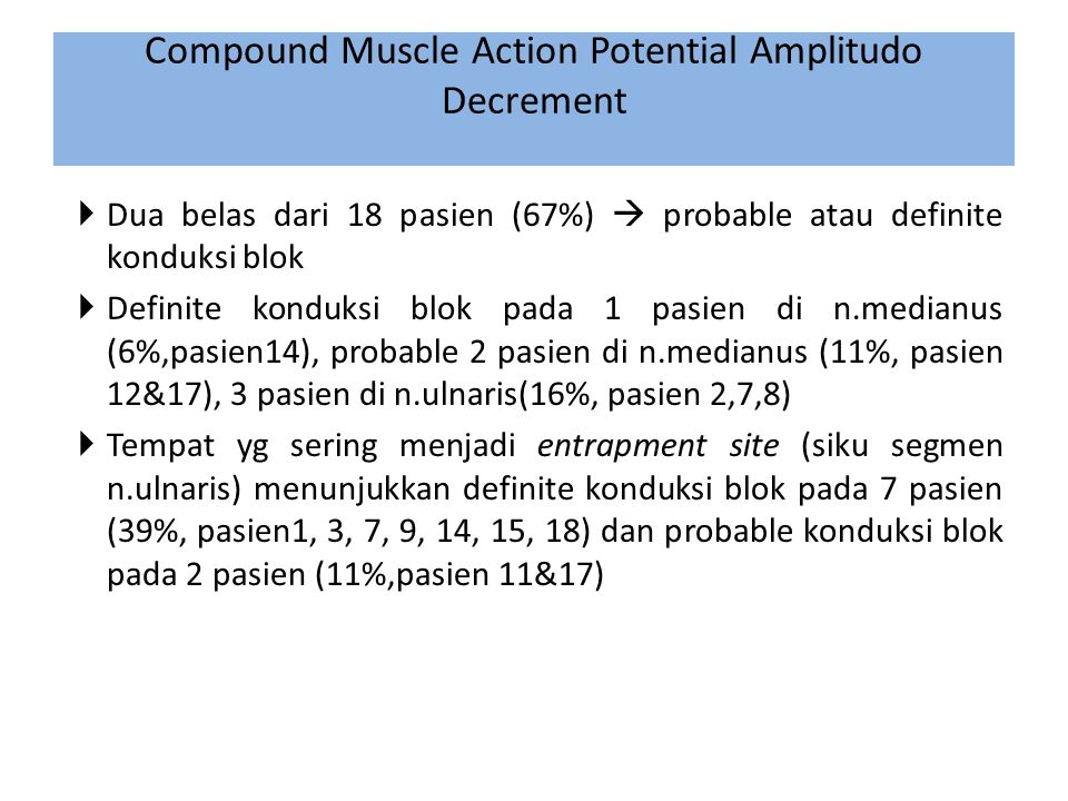 Compound Muscle Action Potential Amplitudo Decrement