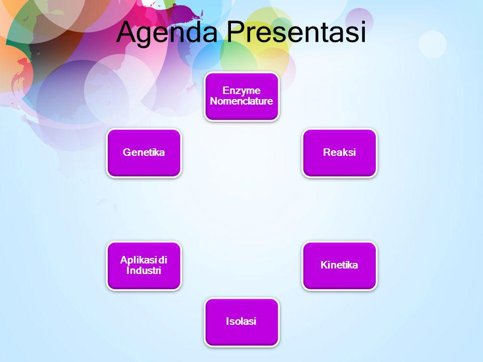 Agenda Presentasi Enzyme Nomenclature Reaksi Kinetika Isolasi