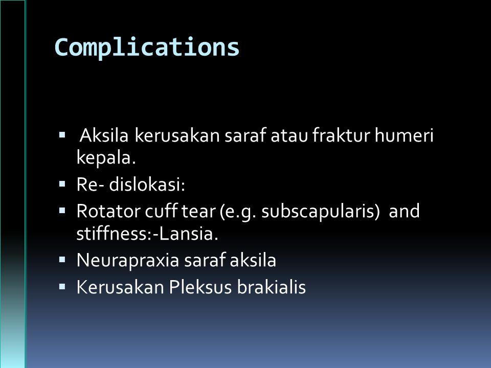 Complications Aksila kerusakan saraf atau fraktur humeri kepala.