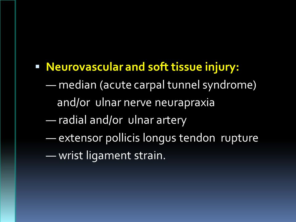 Neurovascular and soft tissue injury: