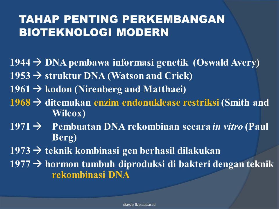 TAHAP PENTING PERKEMBANGAN BIOTEKNOLOGI MODERN