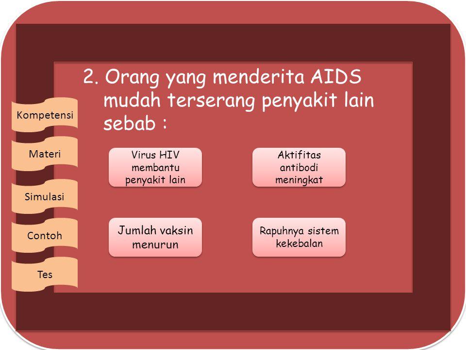 2. Orang yang menderita AIDS mudah terserang penyakit lain sebab :