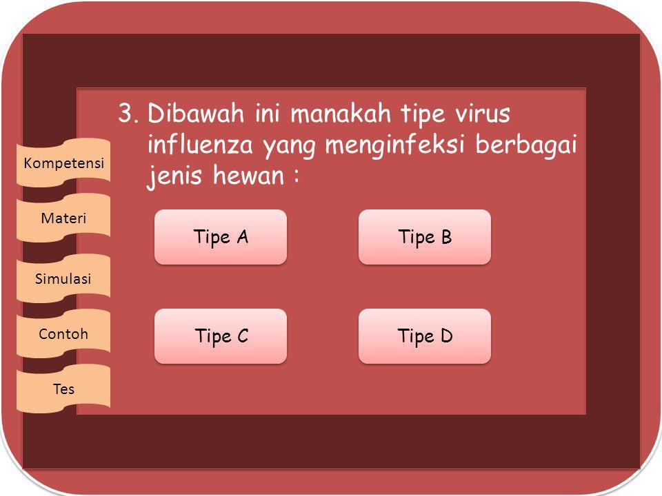 3. Dibawah ini manakah tipe virus influenza yang menginfeksi berbagai jenis hewan :