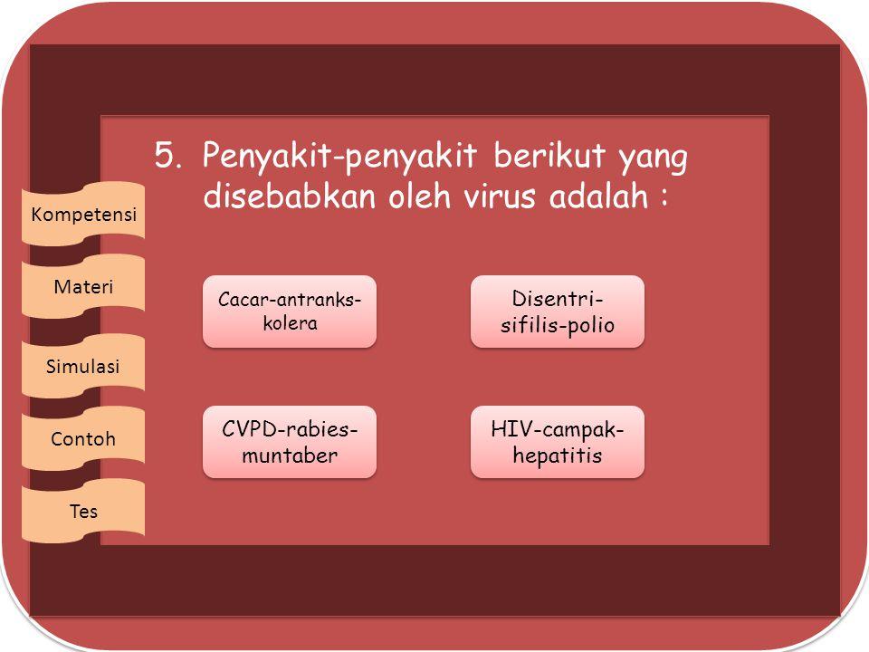 5. Penyakit-penyakit berikut yang disebabkan oleh virus adalah :