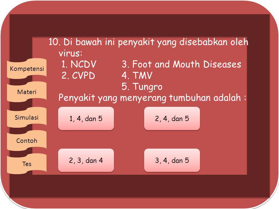 10. Di bawah ini penyakit yang disebabkan oleh virus: 1. NCDV. 3