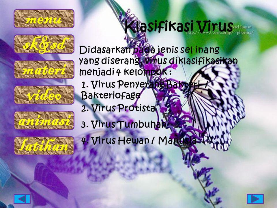 Klasifikasi Virus Didasarkan pada jenis sel inang yang diserang, virus diklasifikasikan menjadi 4 kelompok :