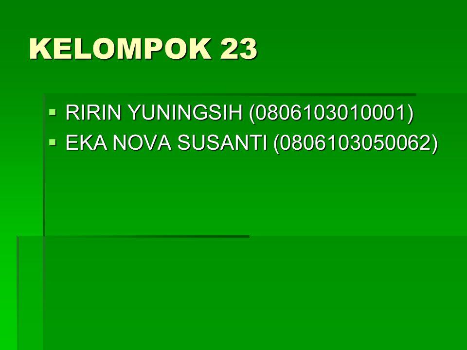 KELOMPOK 23 RIRIN YUNINGSIH (0806103010001)