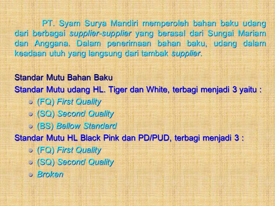 PT. Syam Surya Mandiri memperoleh bahan baku udang dari berbagai supplier-supplier yang berasal dari Sungai Mariam dan Anggana. Dalam penerimaan bahan baku, udang dalam keadaan utuh yang langsung dari tambak supplier.