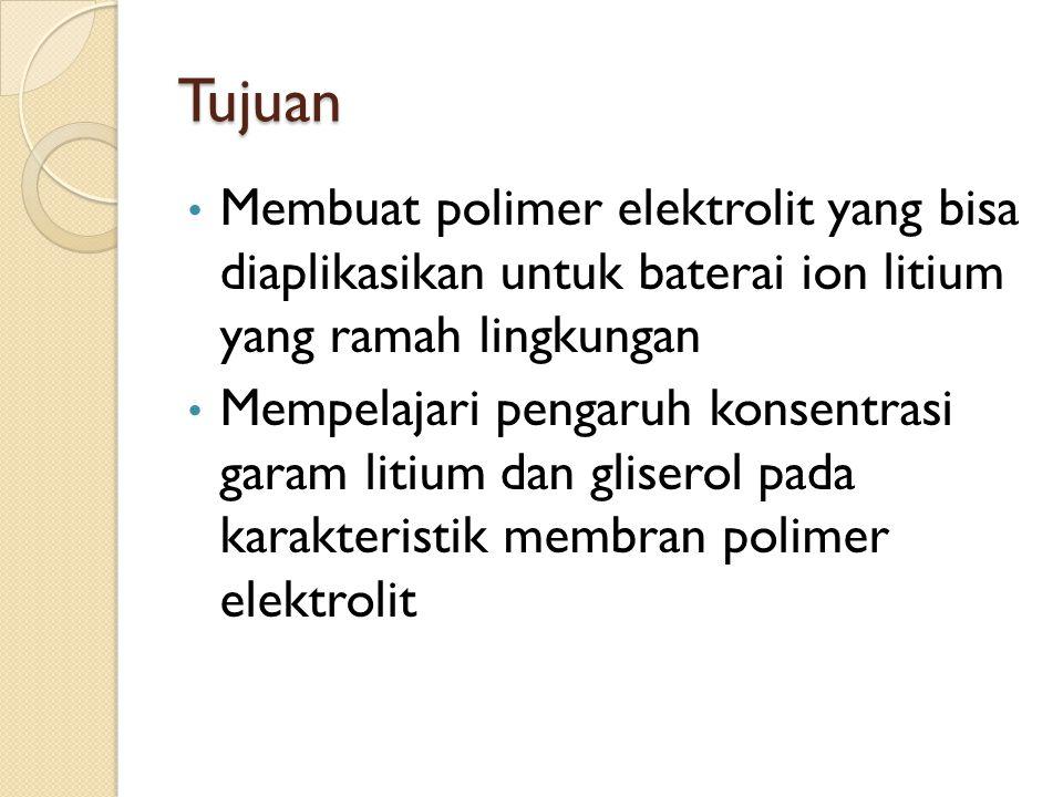 Tujuan Membuat polimer elektrolit yang bisa diaplikasikan untuk baterai ion litium yang ramah lingkungan.