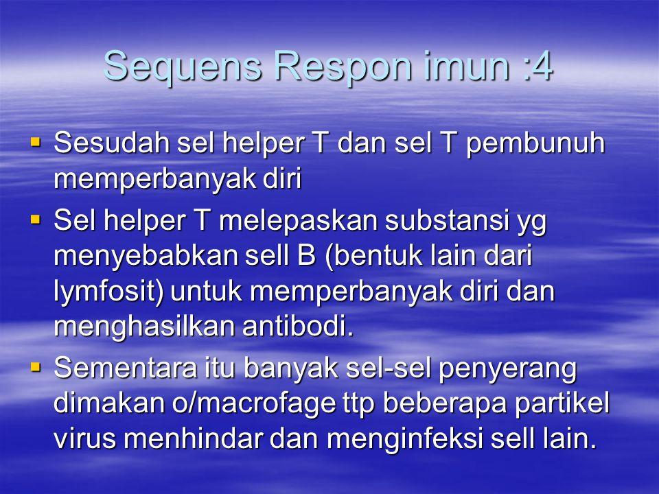 Sequens Respon imun :4 Sesudah sel helper T dan sel T pembunuh memperbanyak diri.