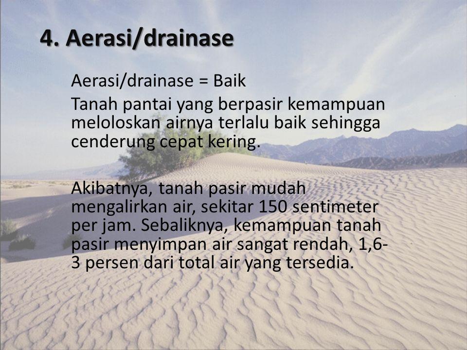 4. Aerasi/drainase Aerasi/drainase = Baik