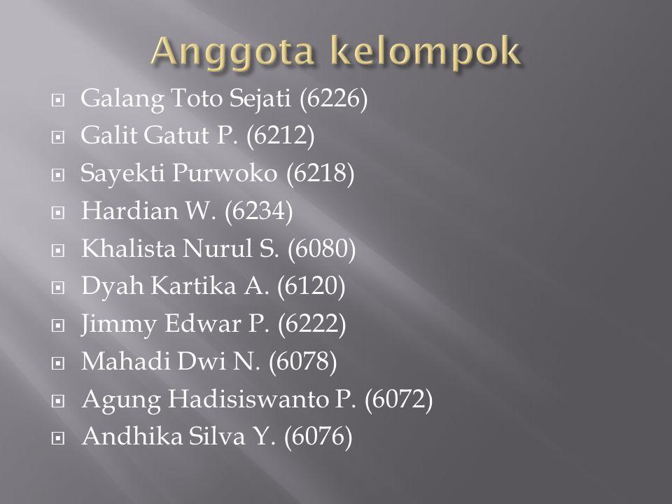 Anggota kelompok Galang Toto Sejati (6226) Galit Gatut P. (6212)