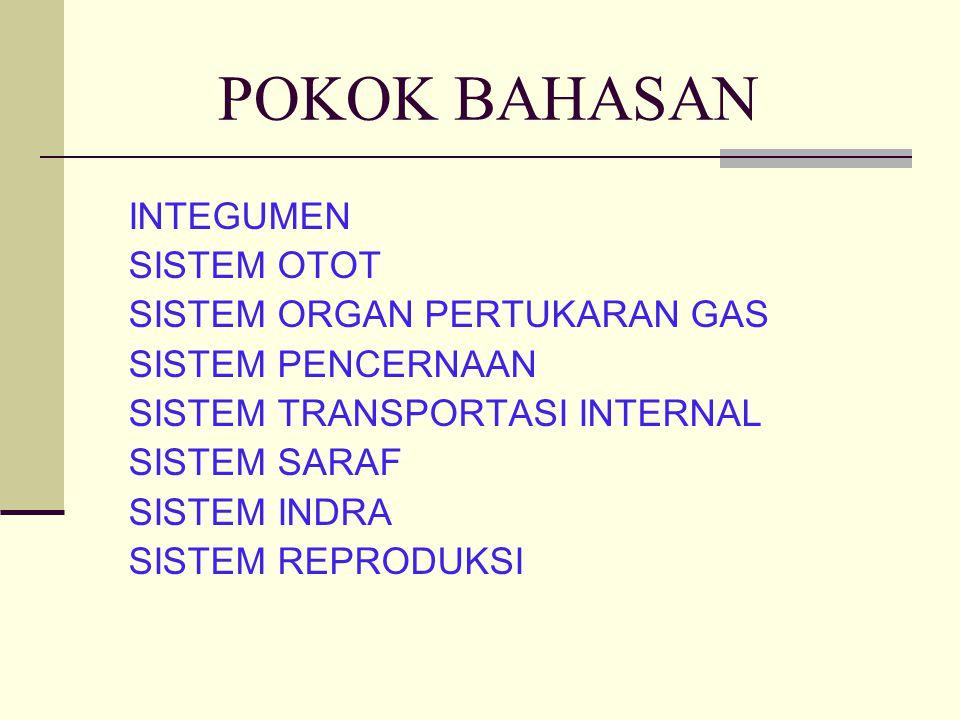 POKOK BAHASAN INTEGUMEN SISTEM OTOT SISTEM ORGAN PERTUKARAN GAS