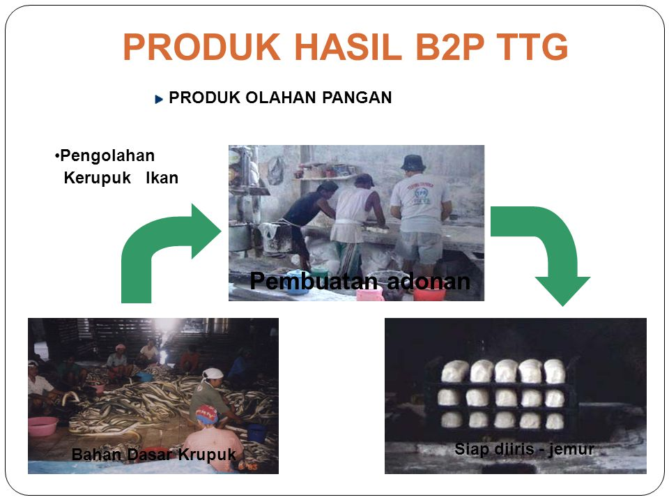 PRODUK HASIL B2P TTG Pembuatan adonan PRODUK OLAHAN PANGAN Pengolahan