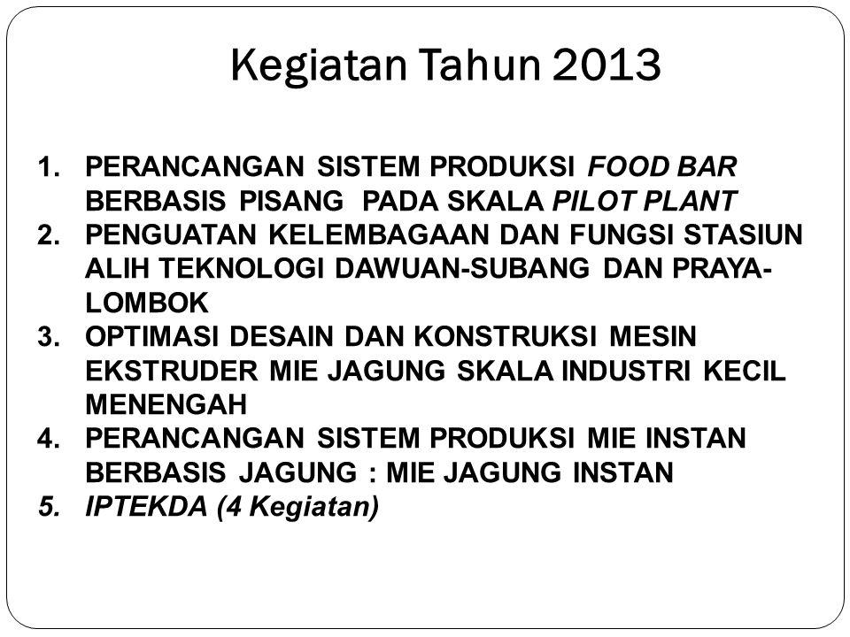 Kegiatan Tahun 2013 PERANCANGAN SISTEM PRODUKSI FOOD BAR BERBASIS PISANG PADA SKALA PILOT PLANT.