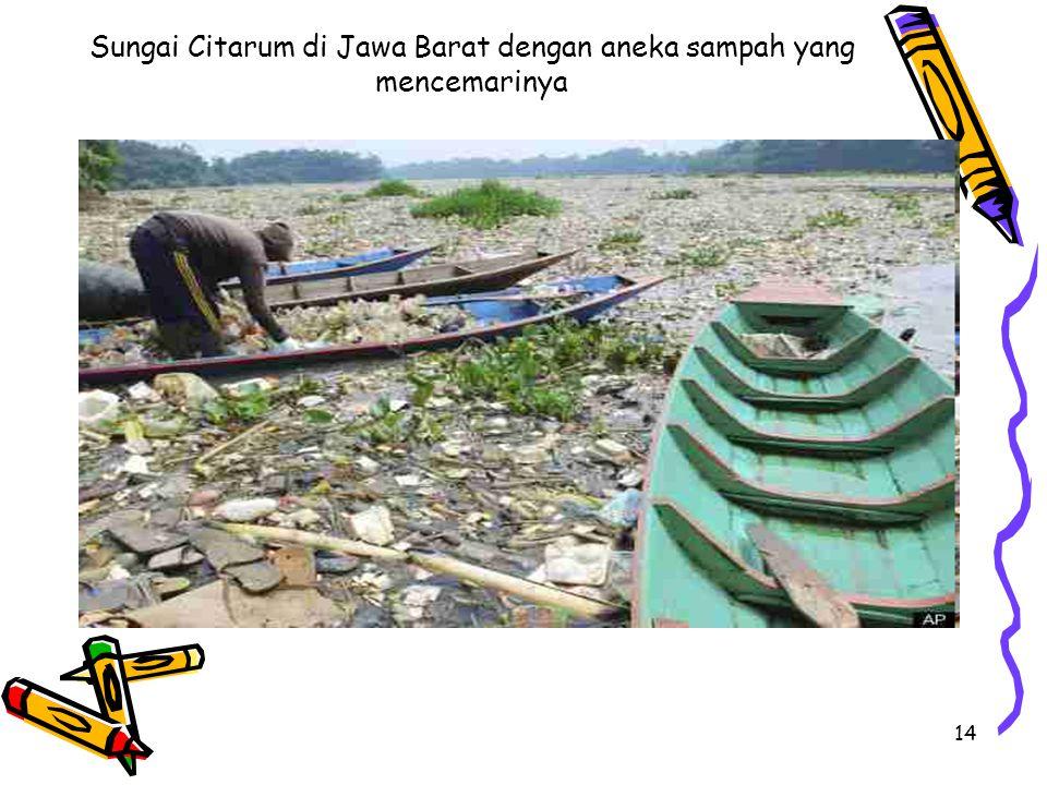 Sungai Citarum di Jawa Barat dengan aneka sampah yang mencemarinya