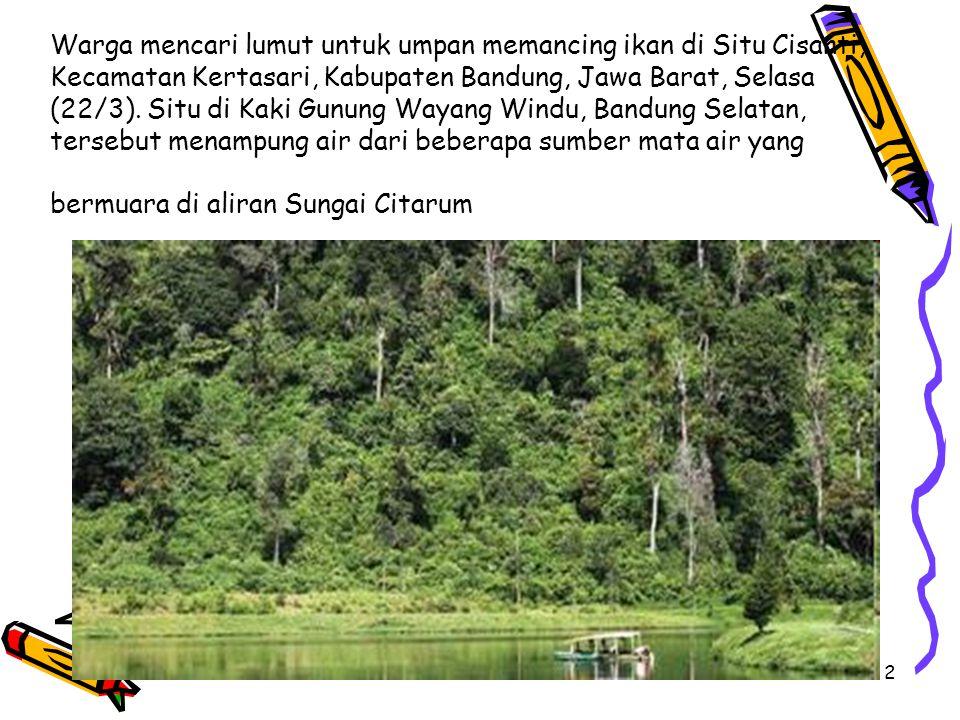 Warga mencari lumut untuk umpan memancing ikan di Situ Cisanti, Kecamatan Kertasari, Kabupaten Bandung, Jawa Barat, Selasa (22/3).