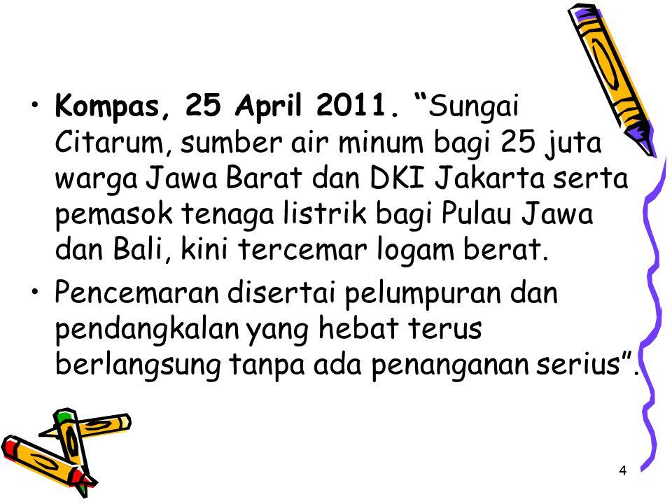 Kompas, 25 April 2011. Sungai Citarum, sumber air minum bagi 25 juta warga Jawa Barat dan DKI Jakarta serta pemasok tenaga listrik bagi Pulau Jawa dan Bali, kini tercemar logam berat.