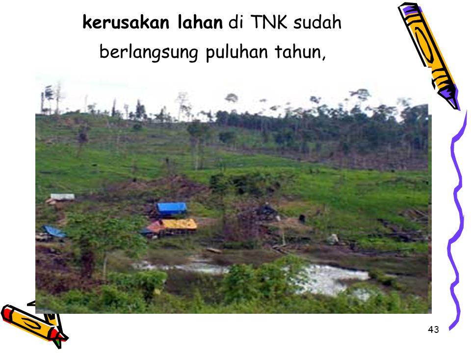 kerusakan lahan di TNK sudah berlangsung puluhan tahun,