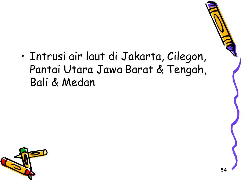 Intrusi air laut di Jakarta, Cilegon, Pantai Utara Jawa Barat & Tengah, Bali & Medan