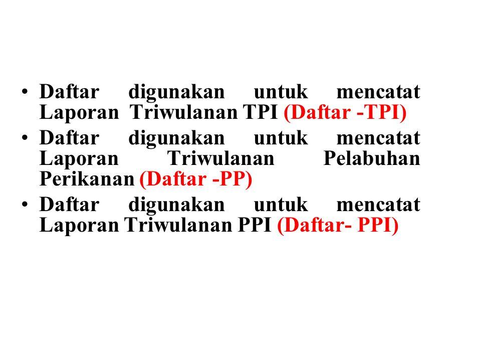 Daftar digunakan untuk mencatat Laporan Triwulanan TPI (Daftar -TPI)