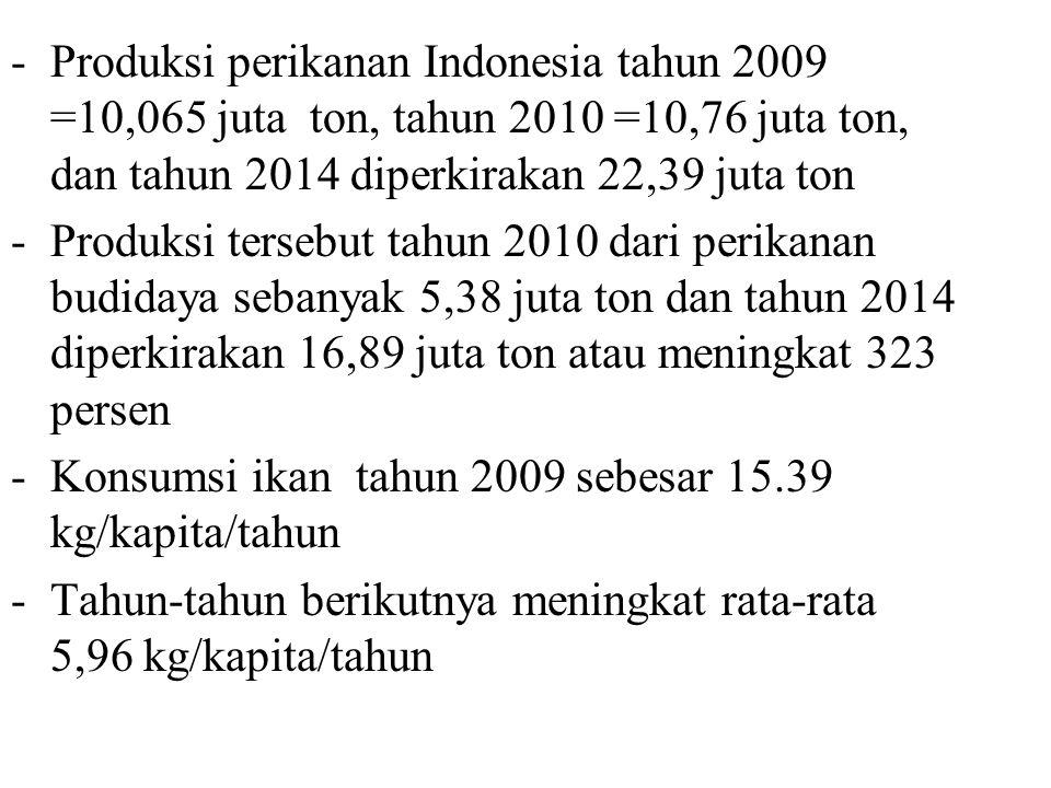 Produksi perikanan Indonesia tahun 2009 =10,065 juta ton, tahun 2010 =10,76 juta ton, dan tahun 2014 diperkirakan 22,39 juta ton