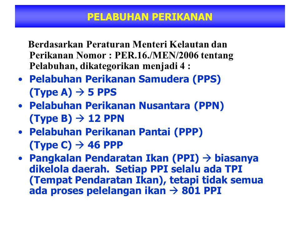 PELABUHAN PERIKANAN Berdasarkan Peraturan Menteri Kelautan dan Perikanan Nomor : PER.16./MEN/2006 tentang Pelabuhan, dikategorikan menjadi 4 :