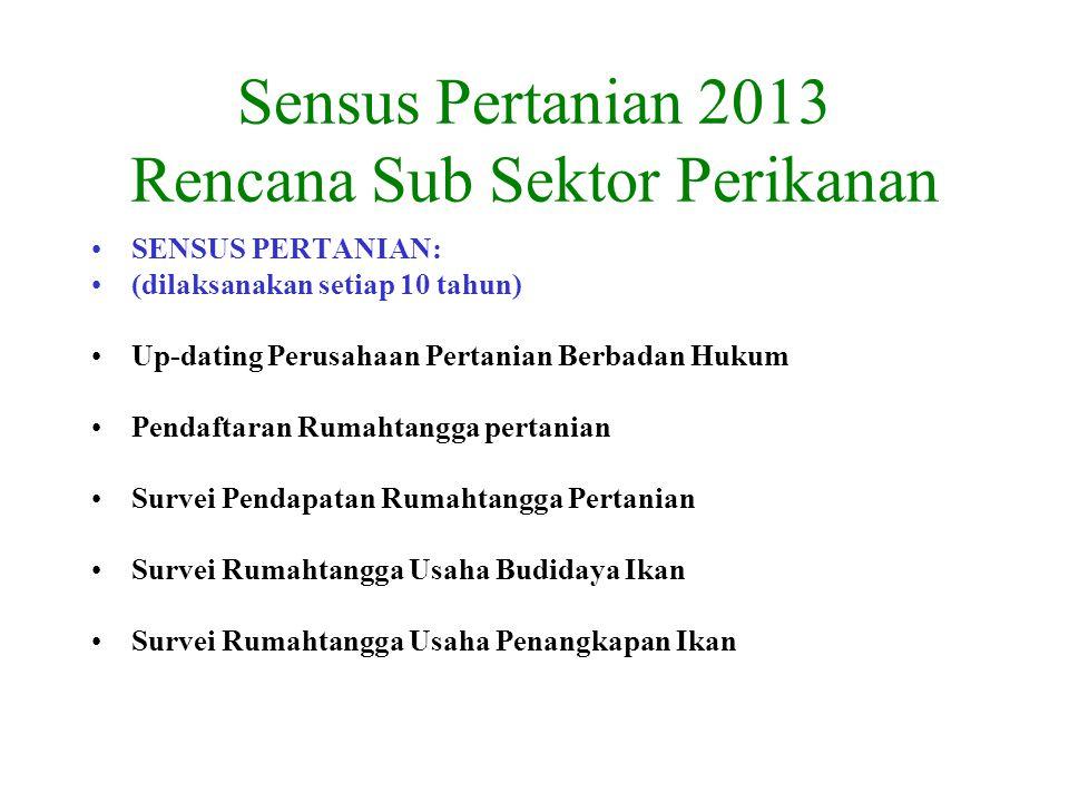 Sensus Pertanian 2013 Rencana Sub Sektor Perikanan