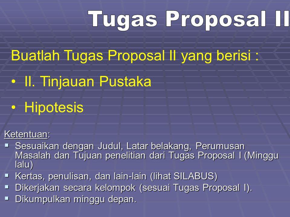 Buatlah Tugas Proposal II yang berisi : II. Tinjauan Pustaka Hipotesis