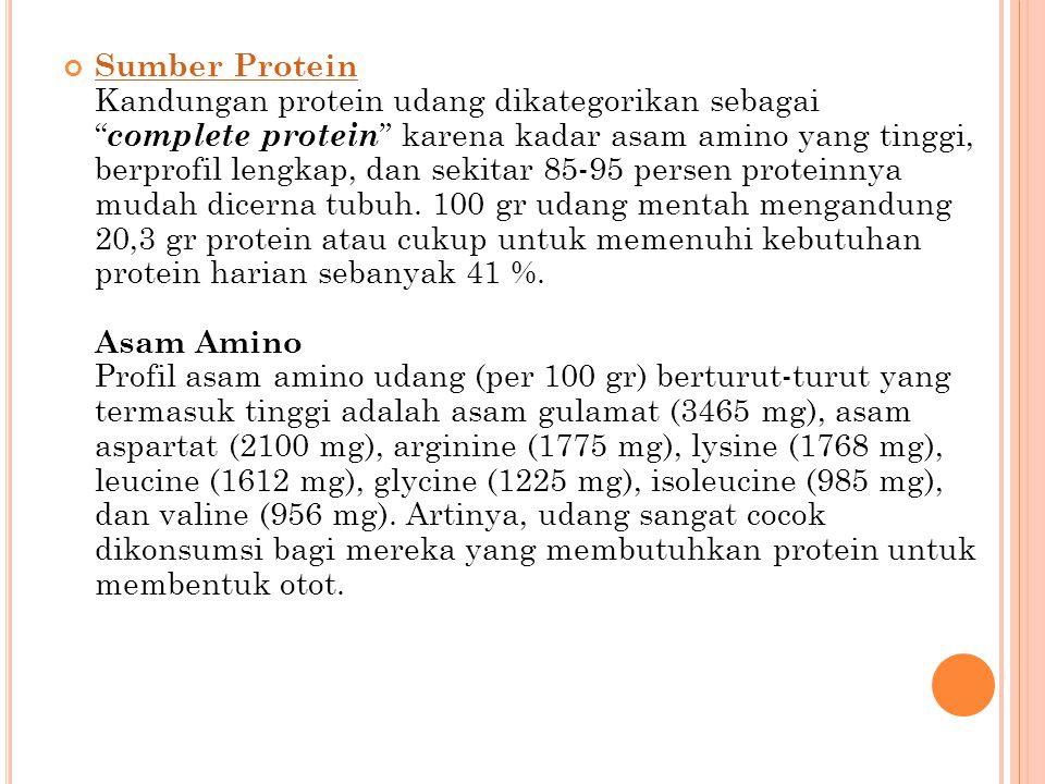 Sumber Protein Kandungan protein udang dikategorikan sebagai complete protein karena kadar asam amino yang tinggi, berprofil lengkap, dan sekitar 85-95 persen proteinnya mudah dicerna tubuh.