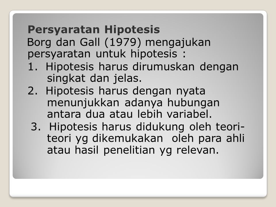 Persyaratan Hipotesis