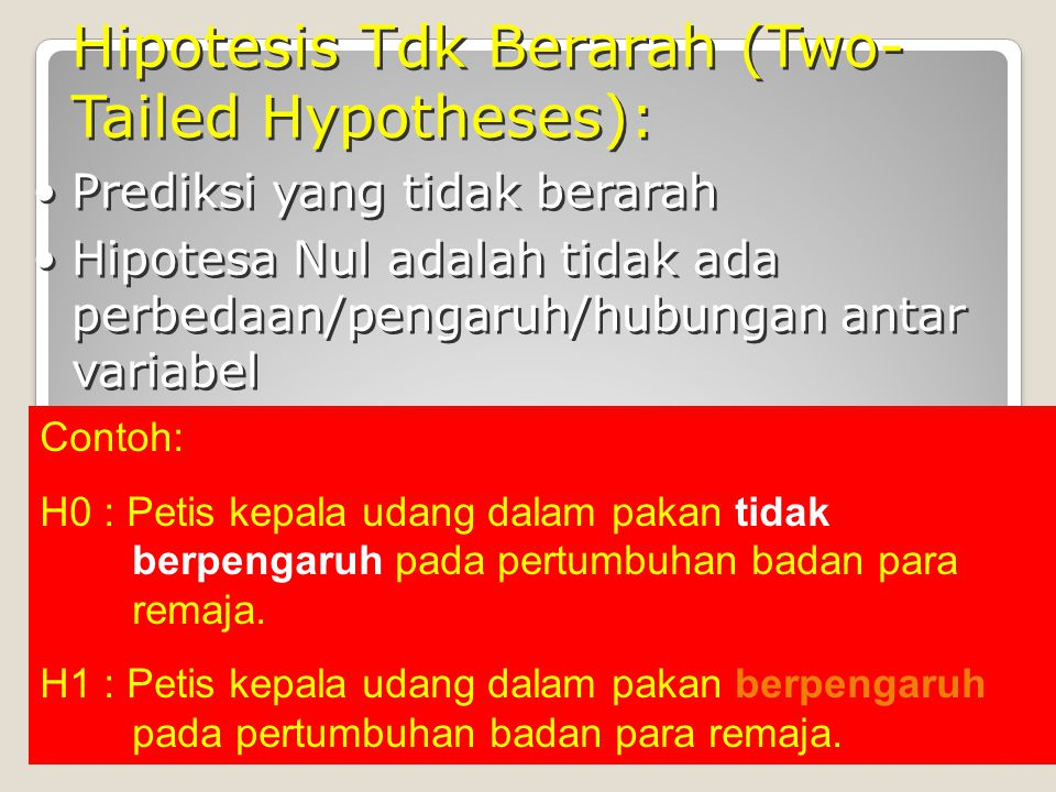Hipotesis Tdk Berarah (Two-Tailed Hypotheses):