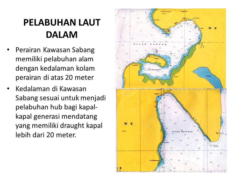 PELABUHAN LAUT DALAM. Perairan Kawasan Sabang memiliki pelabuhan alam dengan kedalaman kolam perairan di atas 20 meter.
