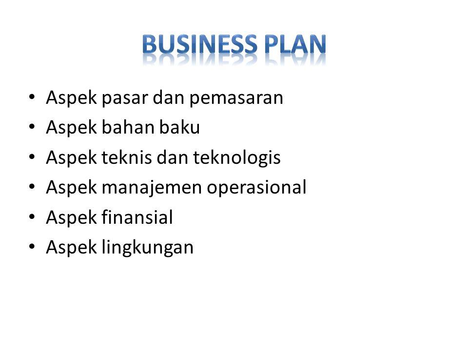 Business Plan Aspek pasar dan pemasaran Aspek bahan baku
