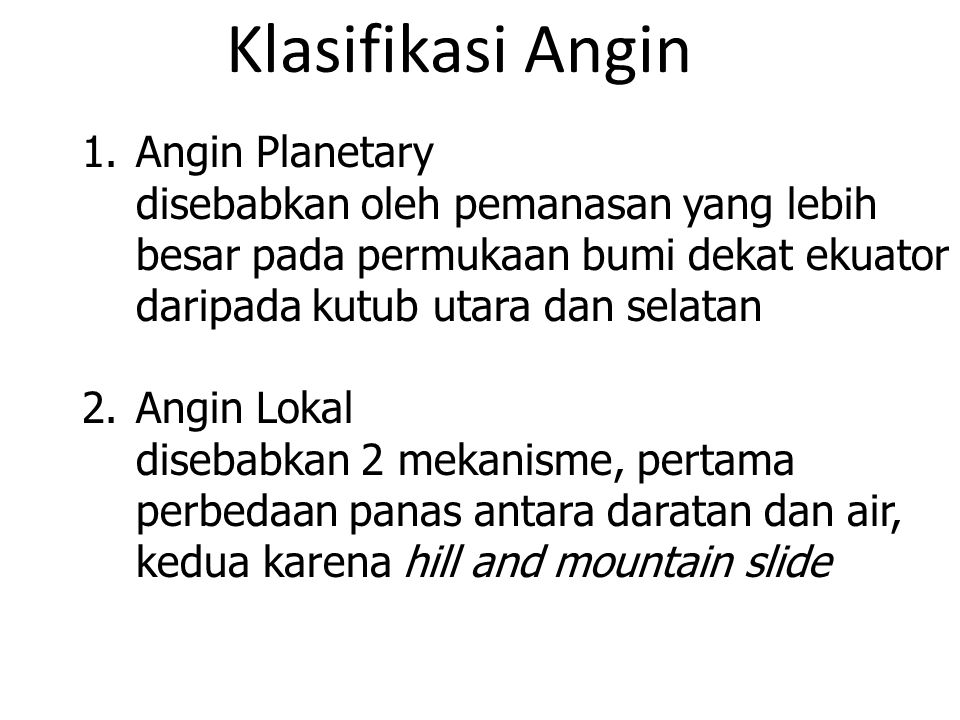 Klasifikasi Angin Angin Planetary