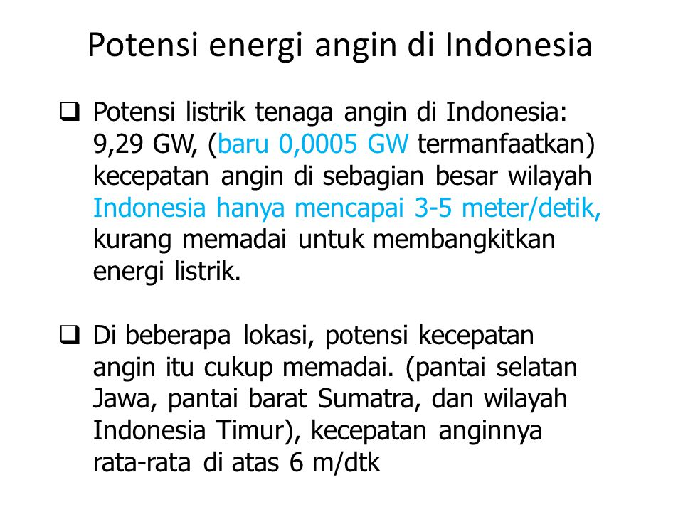 Potensi energi angin di Indonesia