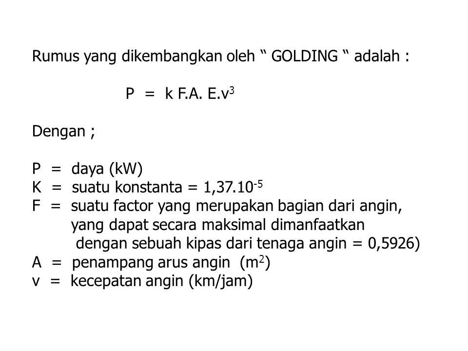 Rumus yang dikembangkan oleh GOLDING adalah :