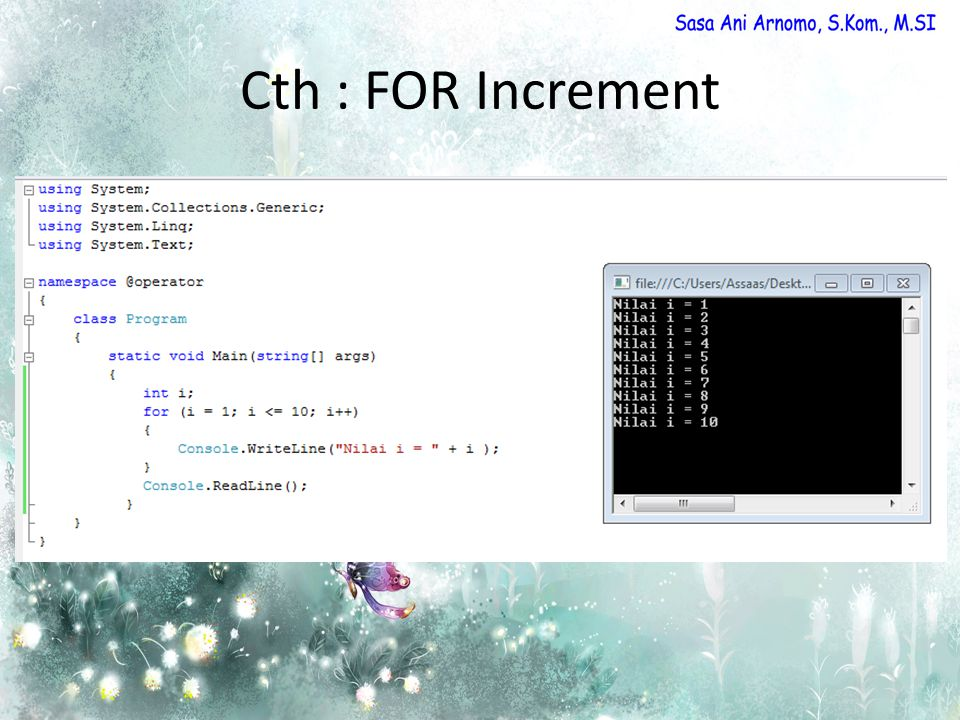 Cth : FOR Increment