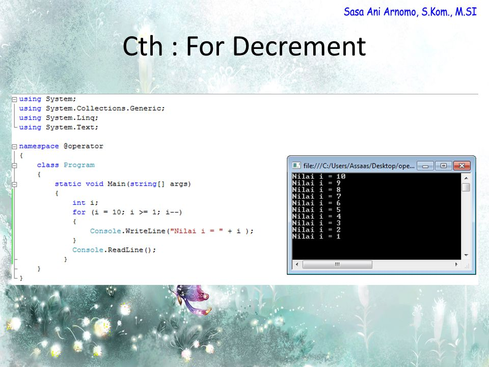Cth : For Decrement