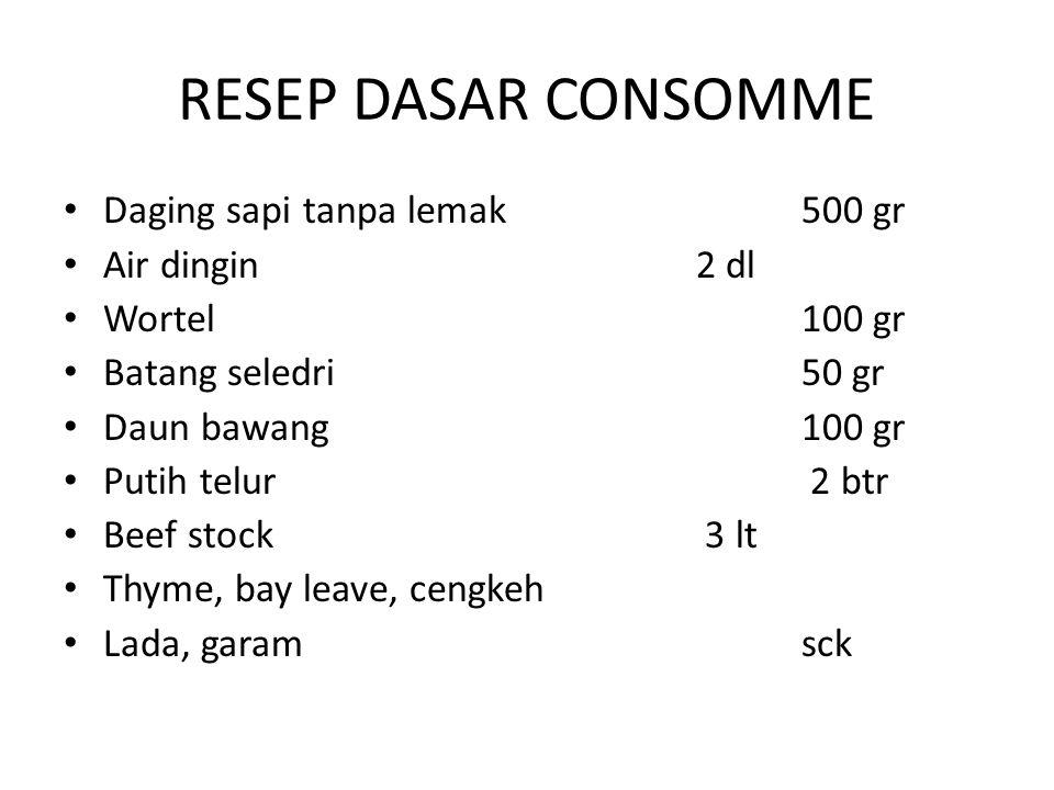 RESEP DASAR CONSOMME Daging sapi tanpa lemak 500 gr Air dingin 2 dl