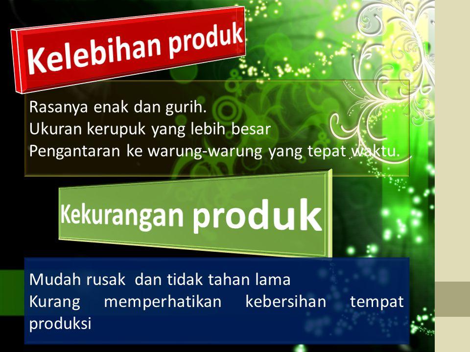 Kelebihan produk Kekurangan produk
