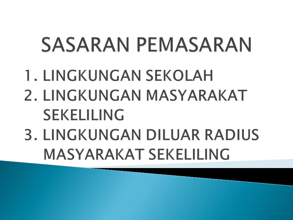 SASARAN PEMASARAN 1. LINGKUNGAN SEKOLAH 2. LINGKUNGAN MASYARAKAT