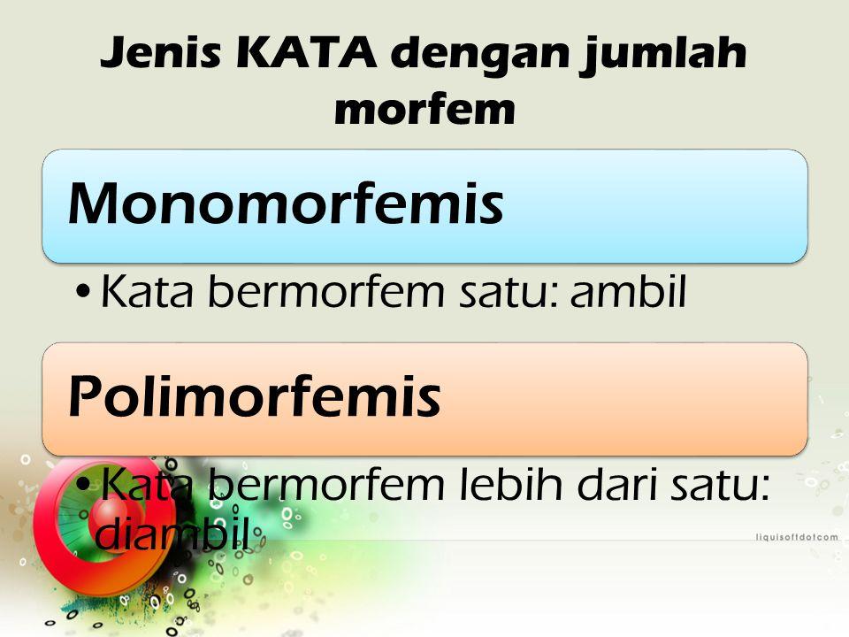 Jenis KATA dengan jumlah morfem