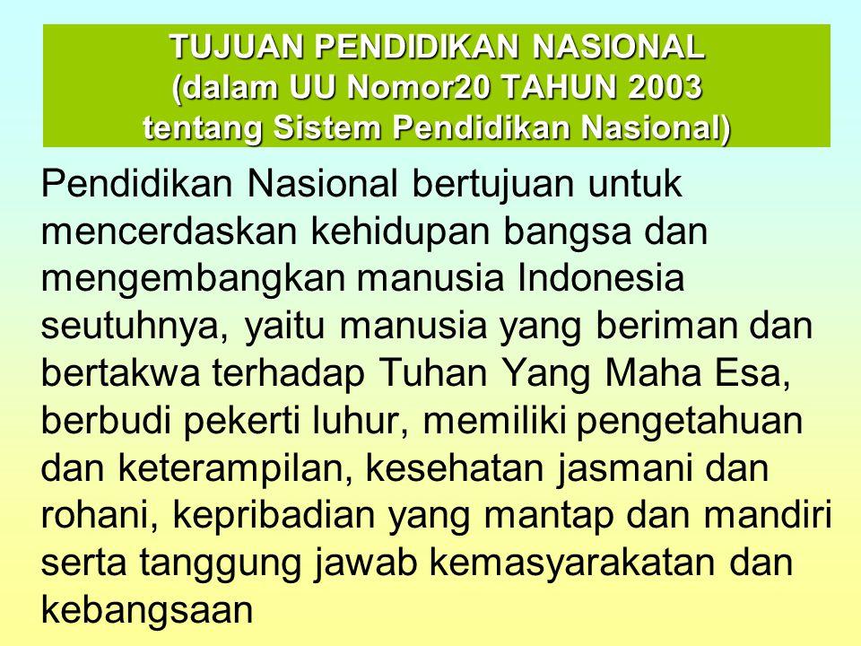 TUJUAN PENDIDIKAN NASIONAL (dalam UU Nomor20 TAHUN 2003 tentang Sistem Pendidikan Nasional)