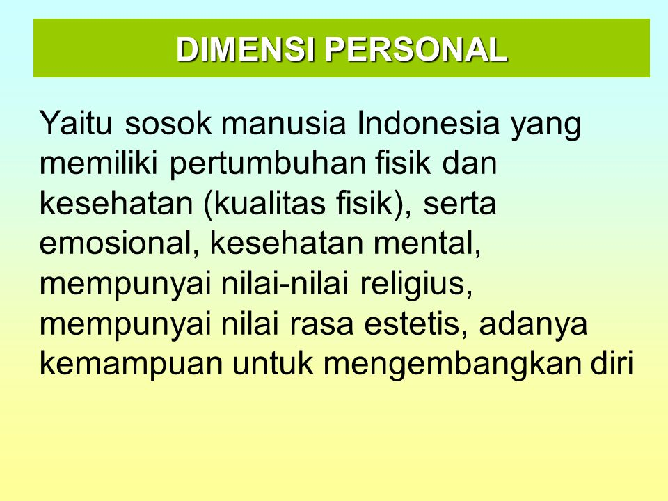 DIMENSI PERSONAL