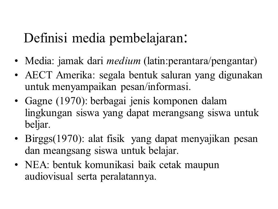 Definisi media pembelajaran: