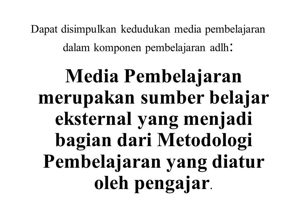 Dapat disimpulkan kedudukan media pembelajaran dalam komponen pembelajaran adlh: